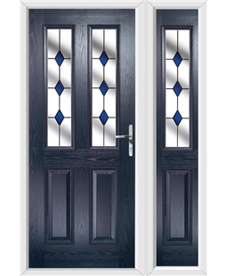 The Cardiff Composite Door in Blue with Blue Diamonds and matching Side Panel