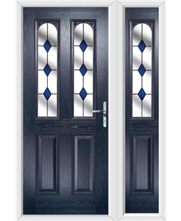 The Aberdeen Composite Door in Blue with Blue Diamonds and matching Side Panel