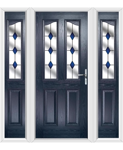 The Birmingham Composite Door in Blue with Blue Diamonds and matching Side Panels