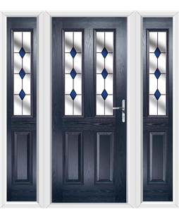 The Cardiff Composite Door in Blue with Blue Diamonds and matching Side Panels