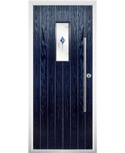 The Zetland Composite Door in Blue with Blue Murano