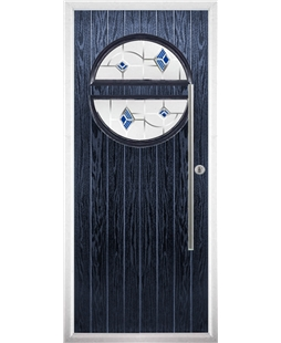 The Xenia Composite Door in Blue with Blue Murano