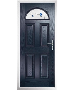 The Derby Composite Door in Blue with Blue Murano