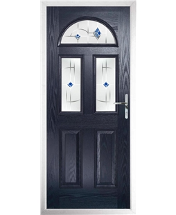 The Glasgow Composite Door in Blue with Blue Murano