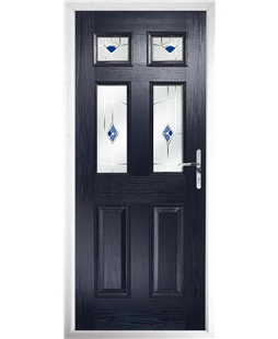 The Oxford Composite Door in Blue with Blue Murano