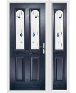The Aberdeen Composite Door in Blue with Blue Murano and matching Side Panel