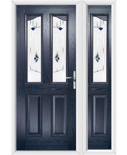 The Birmingham Composite Door in Blue with Blue Murano and matching Side Panel