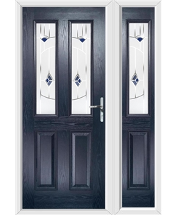 The Cardiff Composite Door in Blue with Blue Murano and matching Side Panel