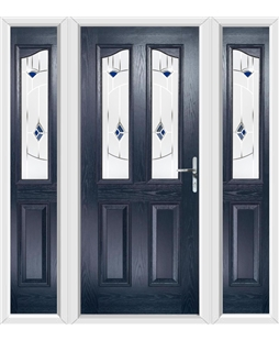 The Birmingham Composite Door in Blue with Blue Murano and matching Side Panels