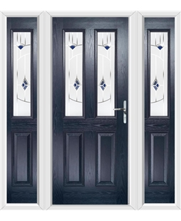 The Cardiff Composite Door in Blue with Blue Murano and matching Side Panels