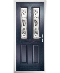 The Cardiff Composite Door in Blue with Brass Art Clarity