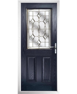 The Farnborough Composite Door in Blue with Brass Art Clarity