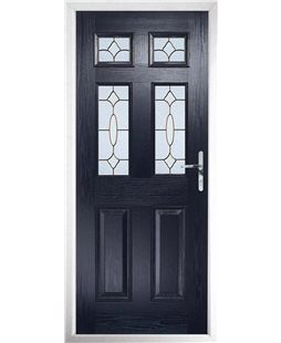 The Oxford Composite Door in Blue with Brass Art Clarity