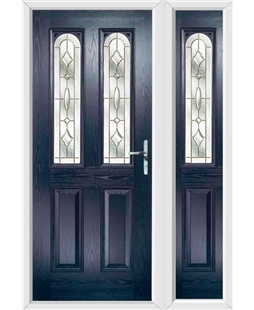 The Aberdeen Composite Door in Blue with Brass Art Clarity and matching Side Panel