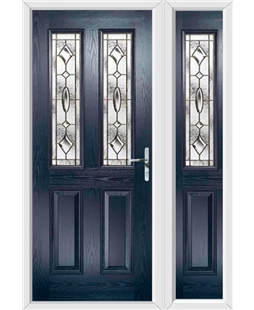 The Cardiff Composite Door in Blue with Brass Art Clarity and matching Side Panel