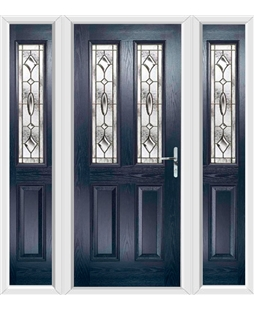 The Cardiff Composite Door in Blue with Brass Art Clarity and matching Side Panels