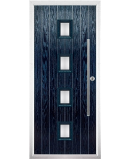 The Leicester Composite Door in Blue with Clear Glazing