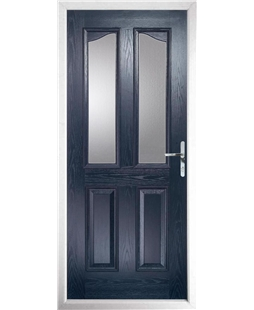 The Birmingham Composite Door in Blue with Clear Glazing
