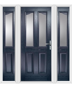 The Birmingham Composite Door in Blue with Glazing and matching Side Panels