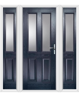 The Cardiff Composite Door in Blue with Glazing and matching Side Panels