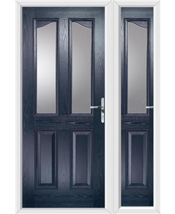 The Birmingham Composite Door in Blue with Glazing and matching Side Panel