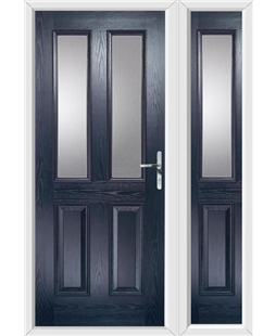 The Cardiff Composite Door in Blue with Glazing and matching Side Panel