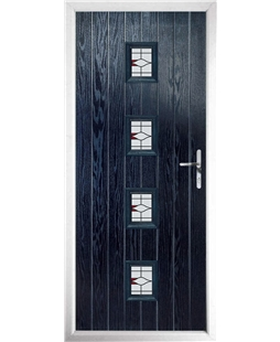 The Uttoxeter Composite Door in Blue with Barcelona Red