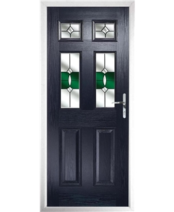 The Oxford Composite Door in Blue with Green Crystal Bohemia