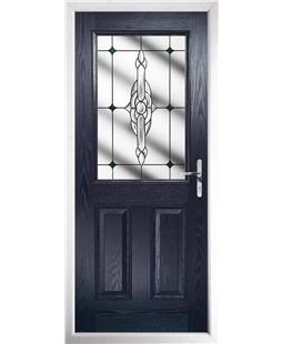 The Farnborough Composite Door in Blue with Green Crystal Bohemia