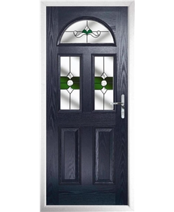 The Glasgow Composite Door in Blue with Green Crystal Bohemia