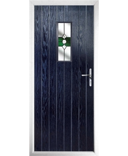 The Taunton Composite Door in Blue with Green Crystal Bohemia