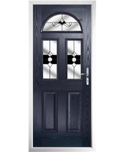The Glasgow Composite Door in Blue with Black Crystal Bohemia