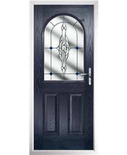 The Edinburgh Composite Door in Blue with Blue Crystal Bohemia