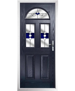 The Glasgow Composite Door in Blue with Blue Crystal Bohemia