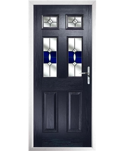 The Oxford Composite Door in Blue with Blue Crystal Bohemia