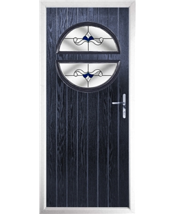 The Queensbury Composite Door in Blue with Blue Crystal Bohemia