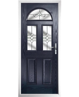 The Glasgow Composite Door in Blue with Clear Crystal Bohemia