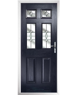 The Oxford Composite Door in Blue with Clear Crystal Bohemia