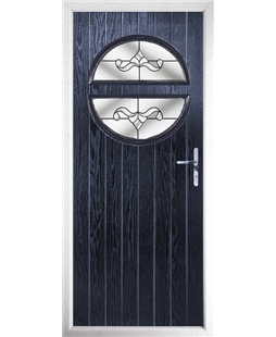 The Queensbury Composite Door in Blue with Clear Crystal Bohemia