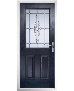 The Farnborough Composite Door in Blue with Crystal Bohemia Frost