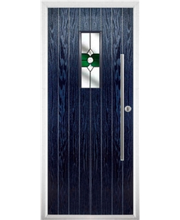 The Zetland Composite Door in Blue with Green Crystal Bohemia