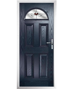 The Derby Composite Door in Blue with Red Crystal Bohemia