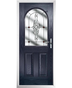 The Edinburgh Composite Door in Blue with Red Crystal Bohemia