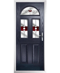 The Glasgow Composite Door in Blue with Red Crystal Bohemia