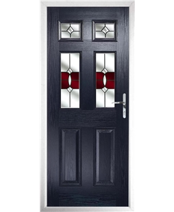 The Oxford Composite Door in Blue with Red Crystal Bohemia