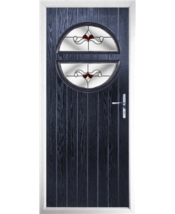The Queensbury Composite Door in Blue with Red Crystal Bohemia