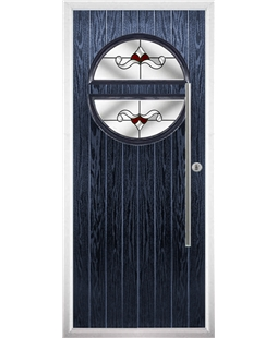 The Xenia Composite Door in Blue with Red Crystal Bohemia