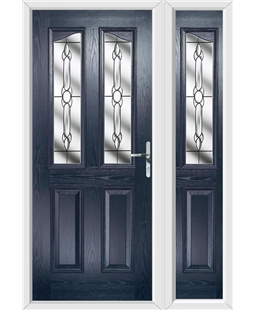 The Birmingham Composite Door in Blue with Crystal Bohemia and matching Side Panel