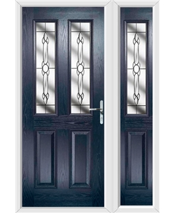 The Cardiff Composite Door in Blue with Crystal Bohemia and matching Side Panel