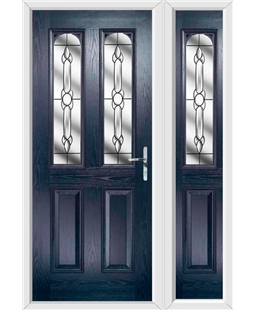 The Aberdeen Composite Door in Blue with Crystal Bohemia and matching Side Panel